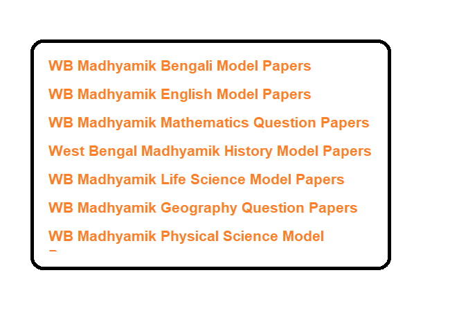 WB Madhyamik 10th Model Questions Paper