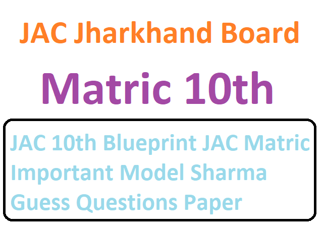 JAC 10th Blueprint JAC Matric Important Model Sharma Guess Questions Paper