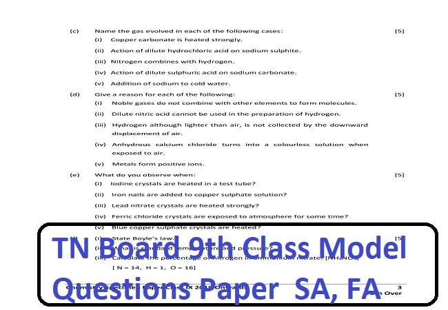 TN Board 9th Model Paper 2020 SA, FA Exam