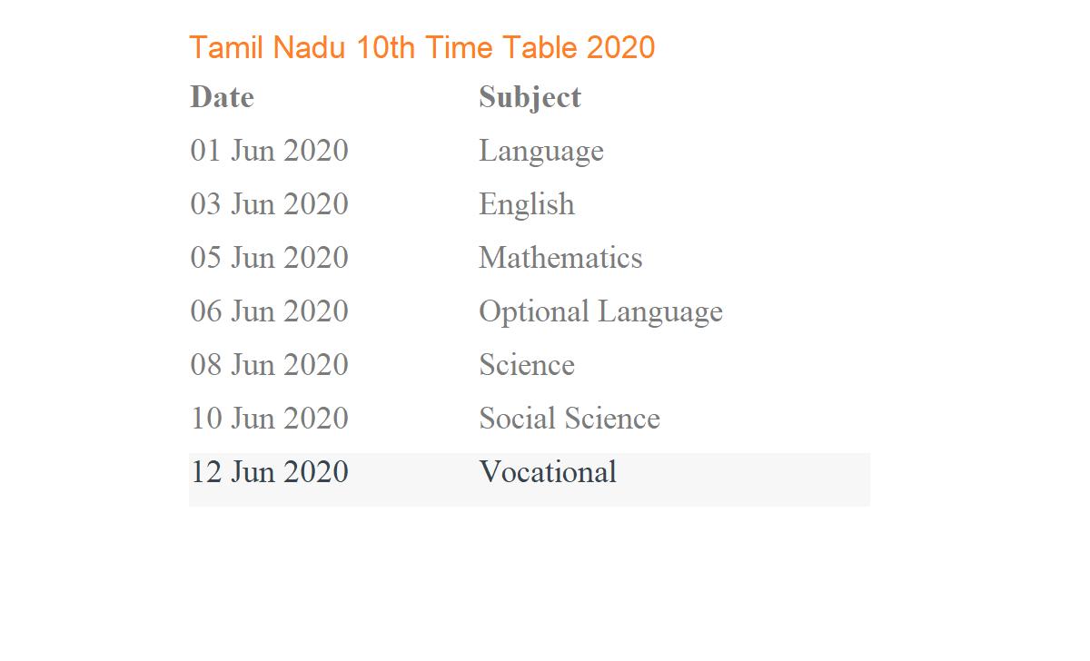 Tamil Nadu 10th Time Table 2020